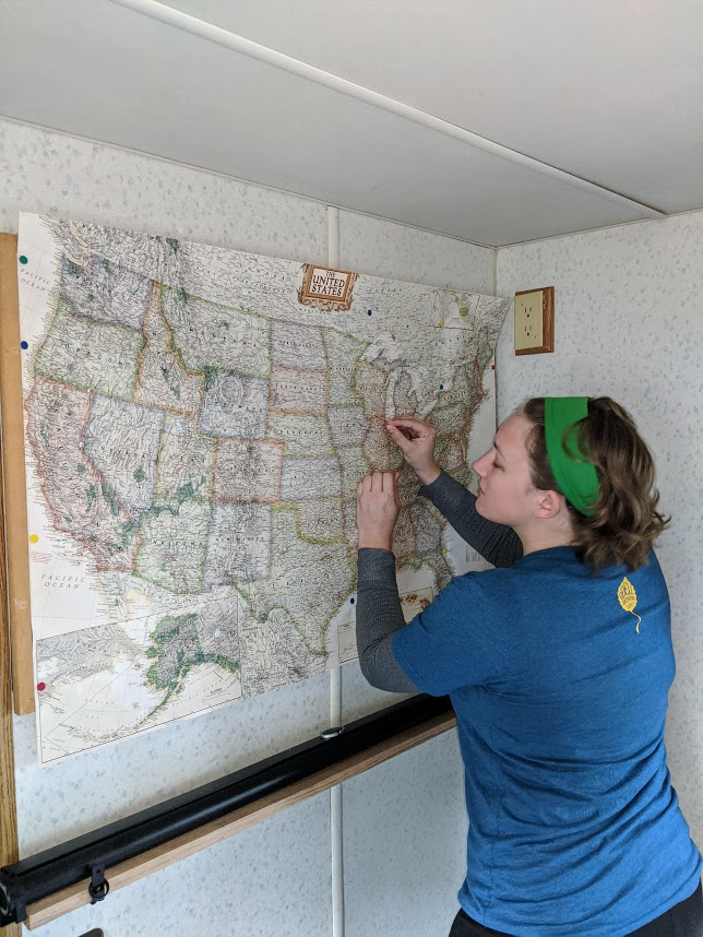 Our map of the US where we are pinning all our stops!